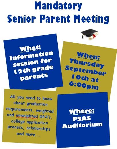 upcoming parent meetings
